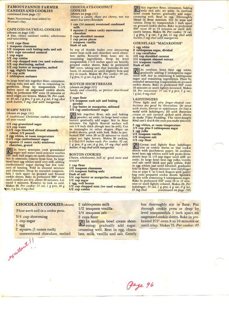 Fannie Farmer Cookie Recipes: Ladyfingers; shortbread; macaroons; oatmeal cookies.