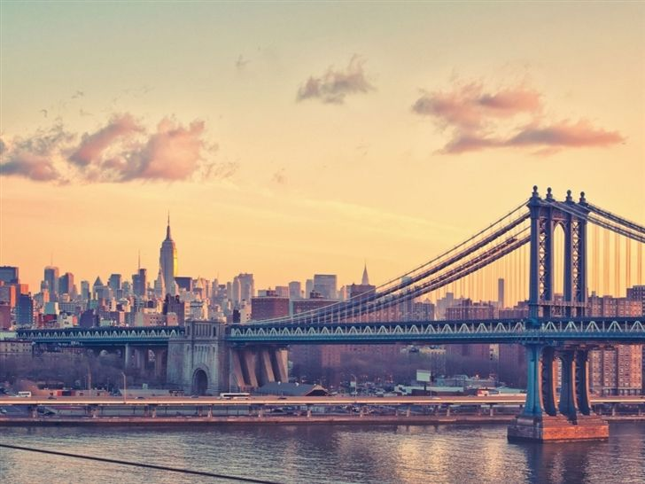 Manhattan Bridge at Dusk New York United States Mac Wallpaper Download | Free Mac Wallpapers Download