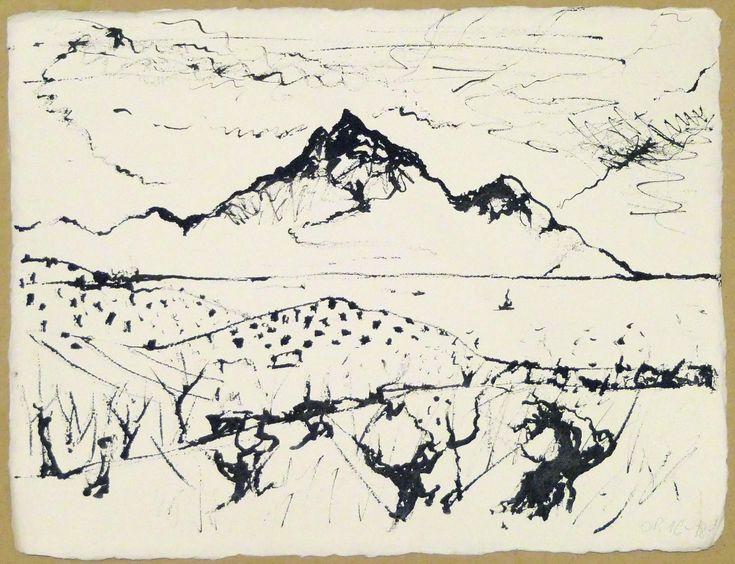 Landscape, ink on paper