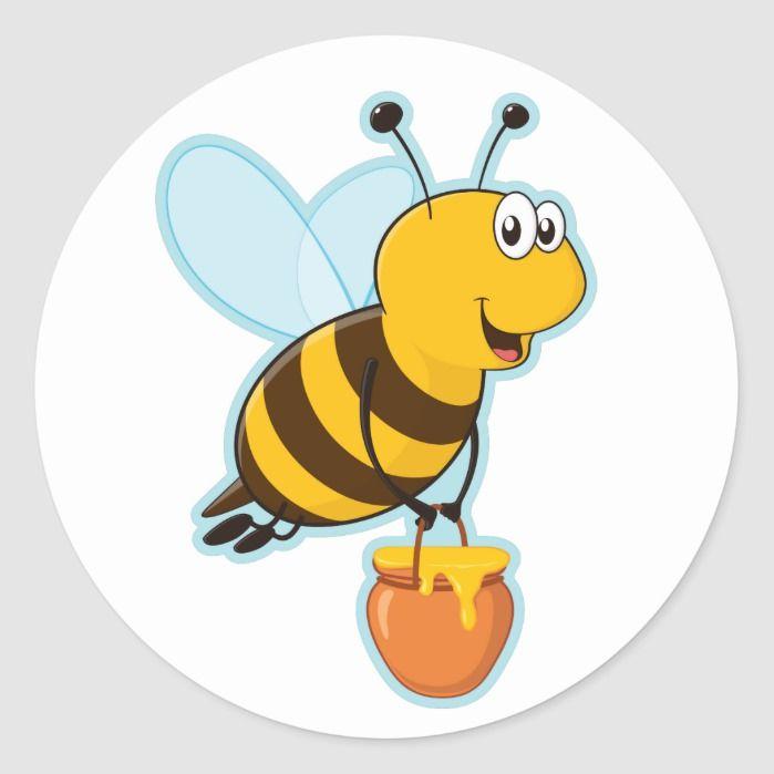 Happy Honey Bee Honey Pot Classic Round Sticker Zazzle Com In 2021 Honey Bee Cartoon Cartoon Bee Happy Cartoon