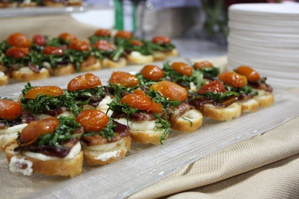 Bruschette of bacon, spinach, balsamic and ricotta from La Madia.Chicago Food, Ravens Horde, Food Scene, 2012 Reach, Porcin Glories, La Madia, Baconfest 2012