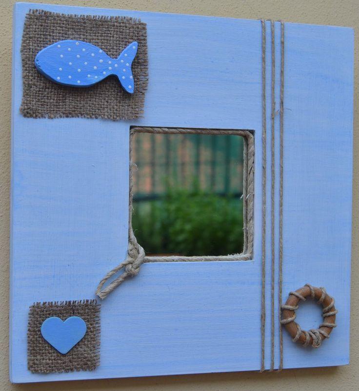 Specchio decorato a mano stile marinaro, by La Bottega di Dora, 12,00 € su misshobby.com