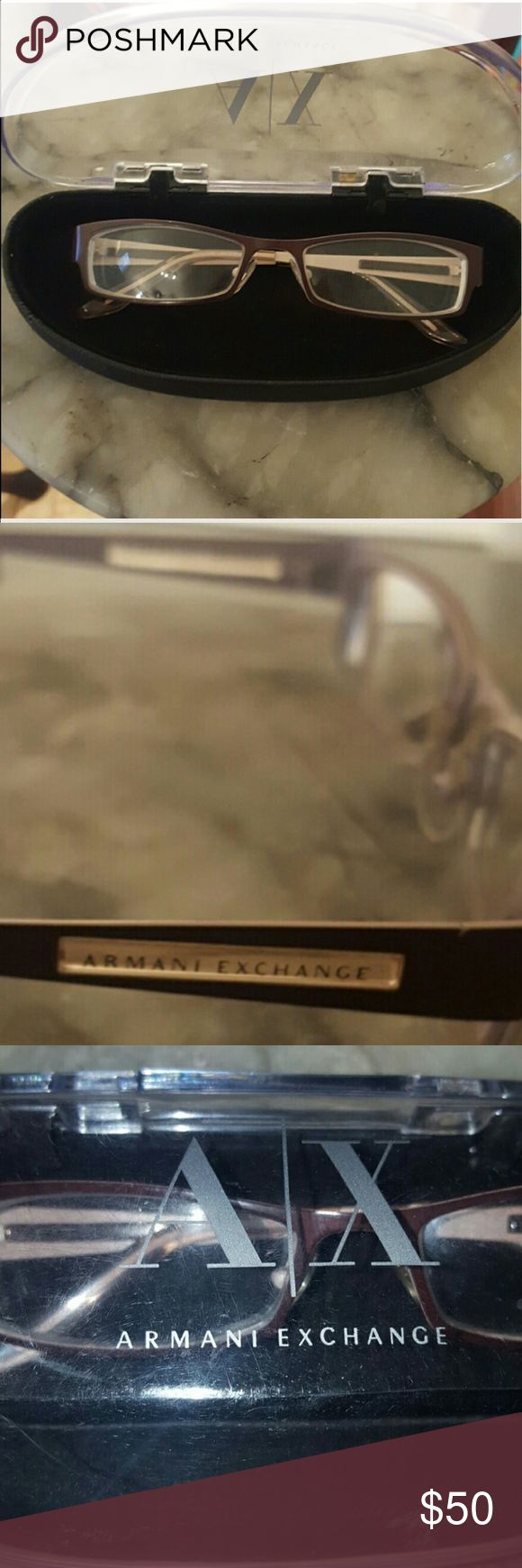 Armani Exchange eyeglasses ◑▽ (⊙o⊙)SALE(┬_┬) Armani Exchange...Authentic, Excellent Condition. Comes with original case, glass cleaning cloth... Color is brown outside &  light pink inside...Very fashionable...You'll Love these glasses!! A/X Armani Exchange Accessories Glasses
