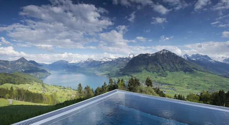 Rising high on Mount Bürgenstock, this early 1900s villa offers luxurious rooms with balconies and a heated infinity pool overlooking Lake Lucerne.