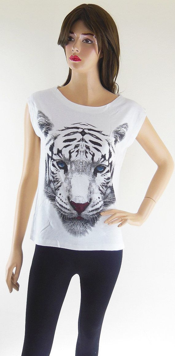 Tigre bleu yeux Animal Style Art mode tigre chemise par sinclothing