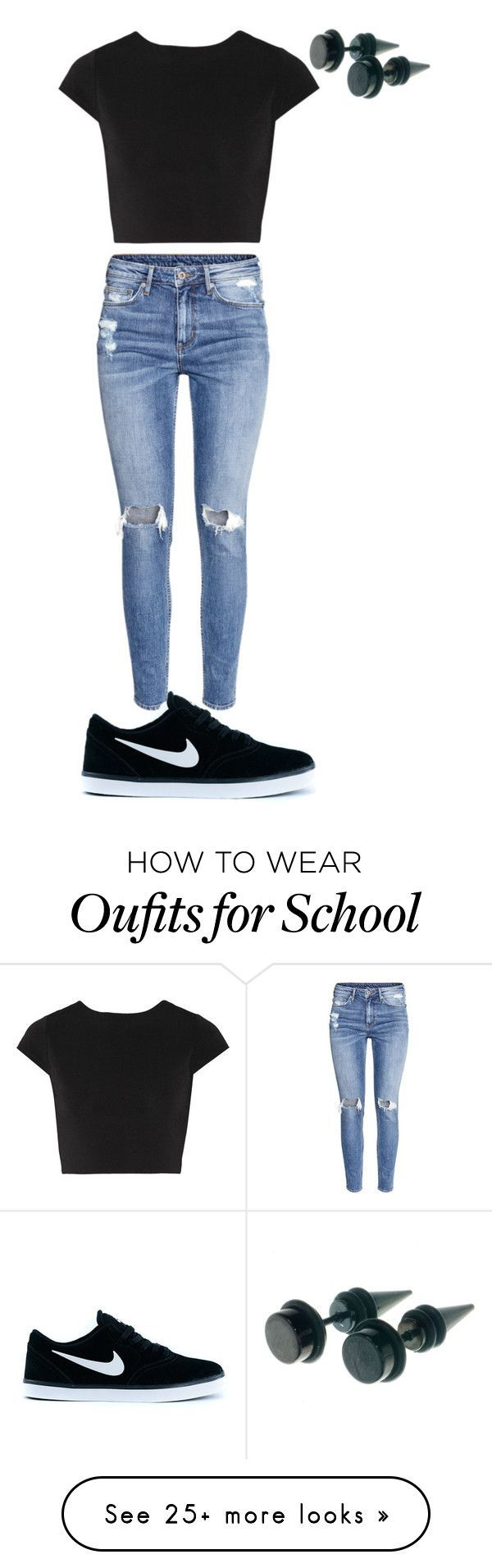 """Usual outfit for school"" by cruzesmeralda on Polyvore featuring Alice + Olivia, H&M and NIKE"