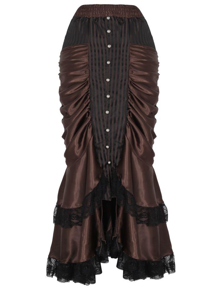 Nouveau produit : Brown satin long skirt with lace and stripes Victorian steampunk Vous aimez ? / New product do you like ?  Prix: 44.90 #new #nouveau #japanattitude #jupes #elegant #aristocrat #victorien #victorian #steampunk #skirt #long #brown #stripes #lace #buttons #mermaid