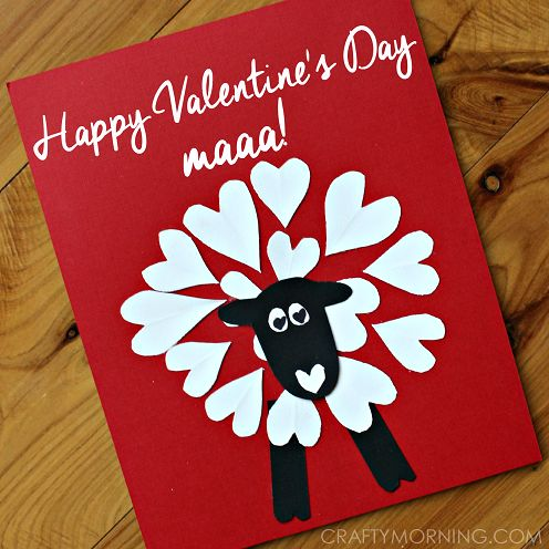"Continuing on our heart shaped animal series, today we made a heart sheep! I think it's adorable to go with the card saying ""Happy Valentine's Day Maaa!"" and giving it to your mother. Materials Needed: White, black, red card stock paper Scissors Glue Have the kids cut out small hearts from the white paper and …"