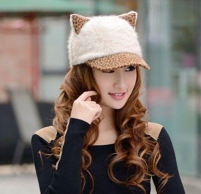Women's Baseball Cap Cat Ears Cap Leopard Print Rabbit Fur Hat Female Lady Warm Winter Cap