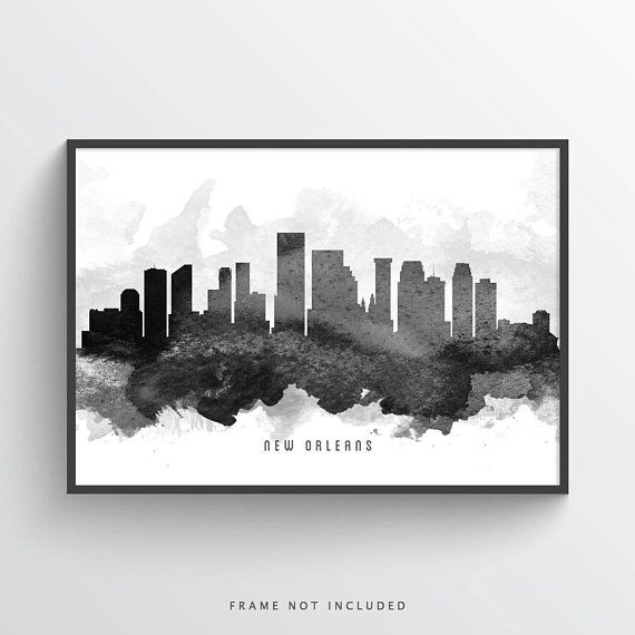 New Orleans Louisiana Skyline Poster Cityscape Neworleans Decor