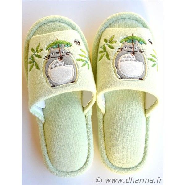 Japanese Anime Totoro Sleepers. More photos at http://www.dharma.fr/746-paire-de-pantoufles-totoro.html
