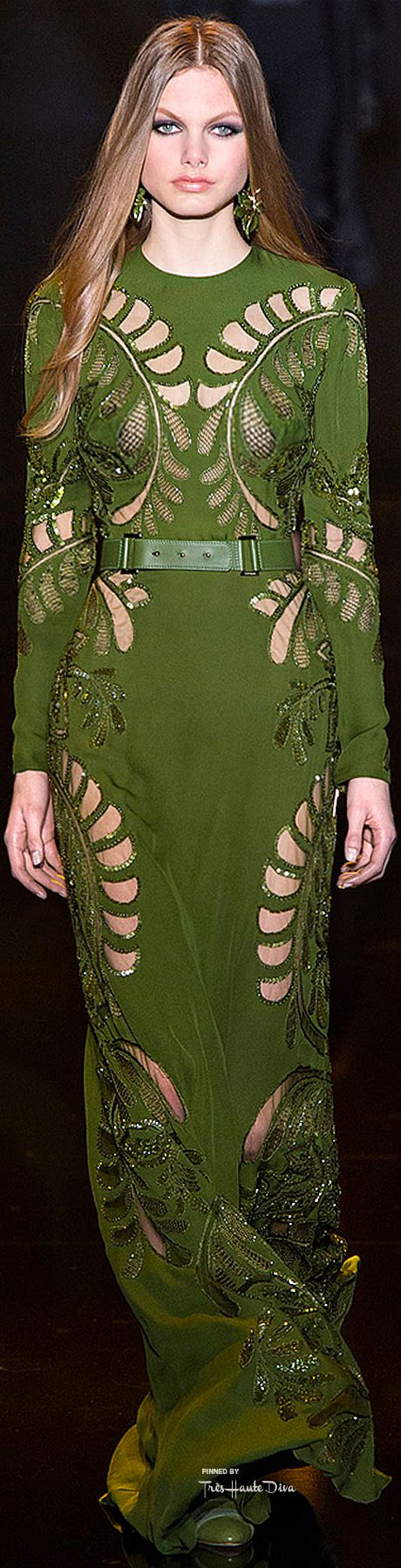 Elie Saab Fall 2015. In love with this shade of green.
