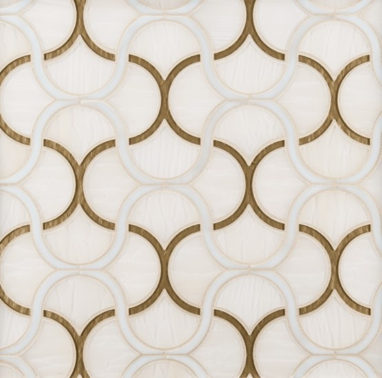 ANN SACKS Chrysalis fish scale glass mosaic in spirit, sugar cane and gold