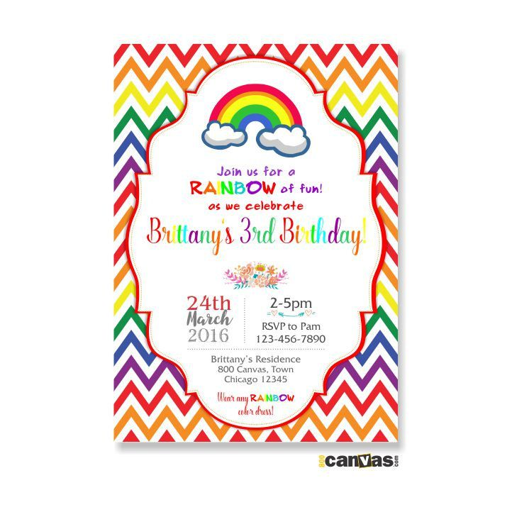 231 best Rainbow Birthday Party images – Rainbow Themed Birthday Invitations