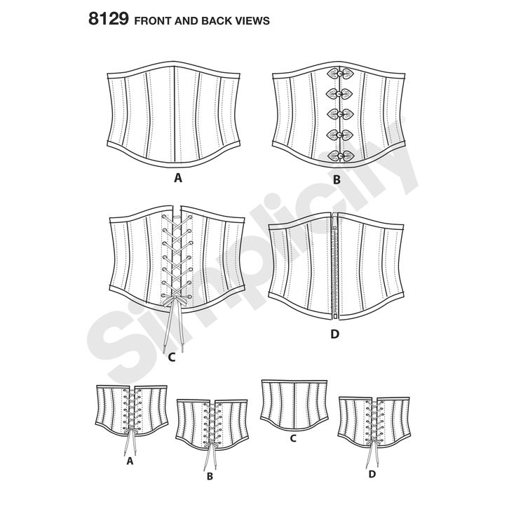 Make your first corset with these easy boned corsets for miss. Pattern features waist cincher corsets with lacing in back and optional decorative closures, or zipper, or lacing in front. Andrea Schewe for Simplicity.