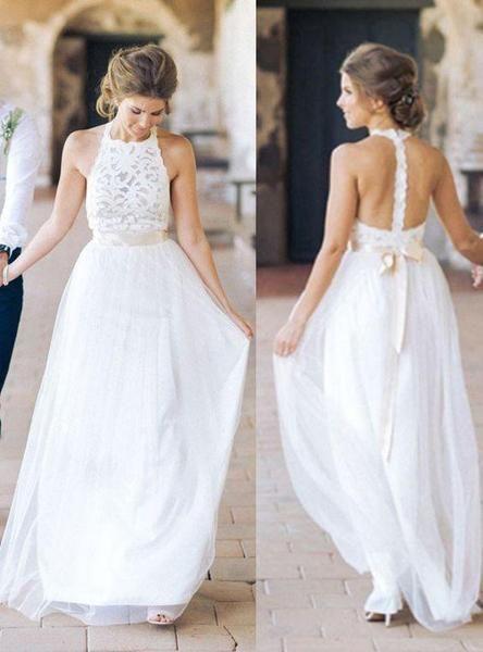 Vestidos de festa de casamento de design simples de bainha longa de renda branca de pescoço alto, WD0089   – Cheap Wedding Dresses