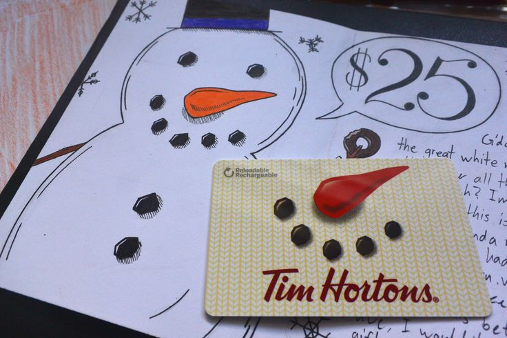 Homemade Christmas card with a Tim Hortons gift card to go over the snow man's nose and mouth.