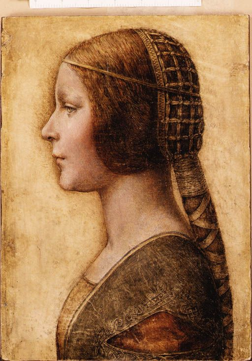 A Young Girl in Profile in Renaissance Dress. For centuries, people thought this painting was the work of a 19th century German artist imitating the renaissance style. Then, in 2009, a fingerprint was discovered on the upper left-hand corner of the painting that is believed to be Leonardo da Vinci's. If this really is one of his paintings - and it looks like it is - it will be the first new Da Vinci work discovered in a century. It amazes me when art and science collide like this.