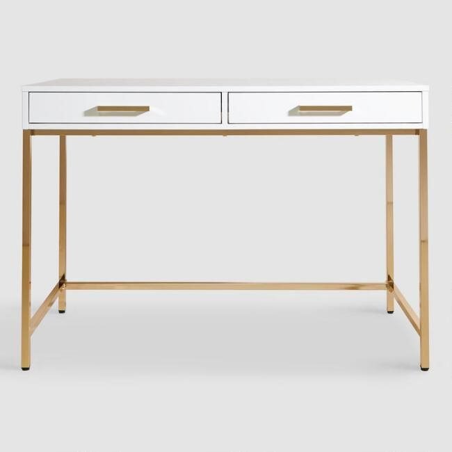 White And Gold Reid Desk With Drawers V2 Desk With Drawers