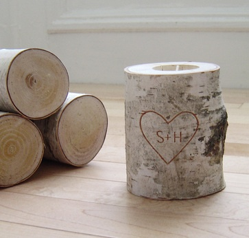 Initials carved into birch tree candle holder..easy diy..christmas gifts??