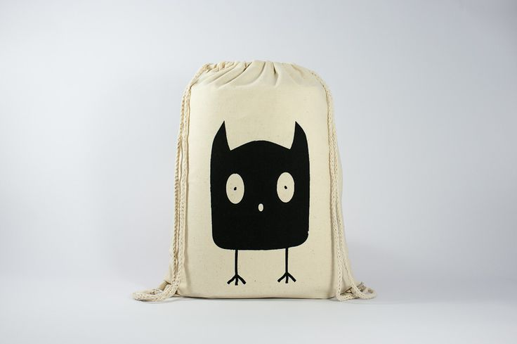 The OWL - Original Illustration printed on gymsack - Find it here: http://www.officineberlinesi.com/shop/classic-gymsacks/owl-gymsack/  #backpack #bag #canvasbag #canvastote #beutel #sac #rucksack #mochila #handmade #sacfourre-tout #screenprinting #taschen  #berlin #funny #beers #illustration