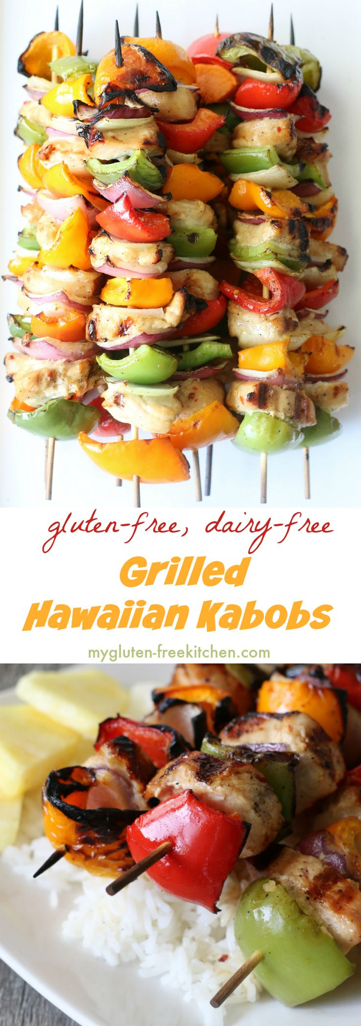 Grilled Hawaiian Kabobs that are gluten-free and dairy-free too! Delicious gluten-free grilling recipe!