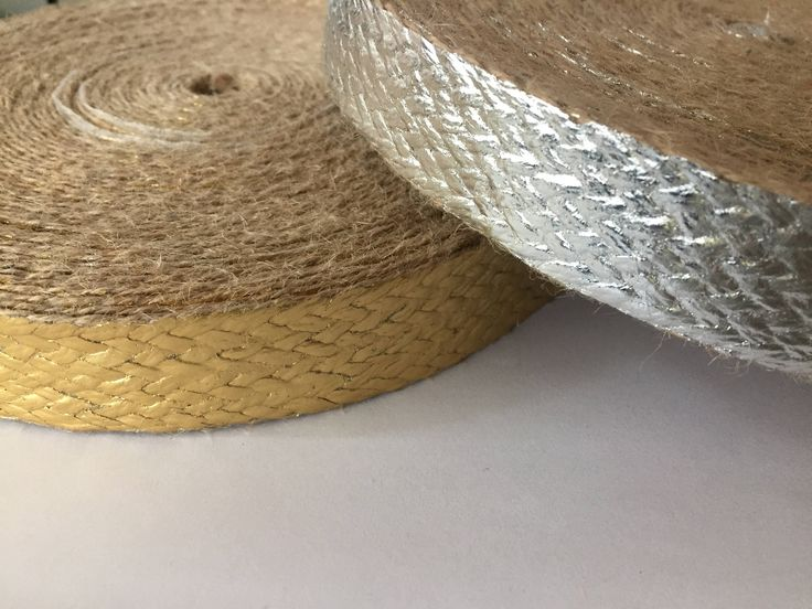 """1"""" (2.5 cm) wide Jute Webbing in Gold or Silver color, painted burlap tape, colored jute webbing by NoaElastics on Etsy"""