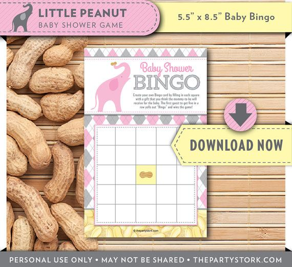 Printable Bingo Card   Pink Elephant Baby Shower Game   Girl Little Peanut Theme   Invitation & Decorations available INSTANT DOWNLOAD