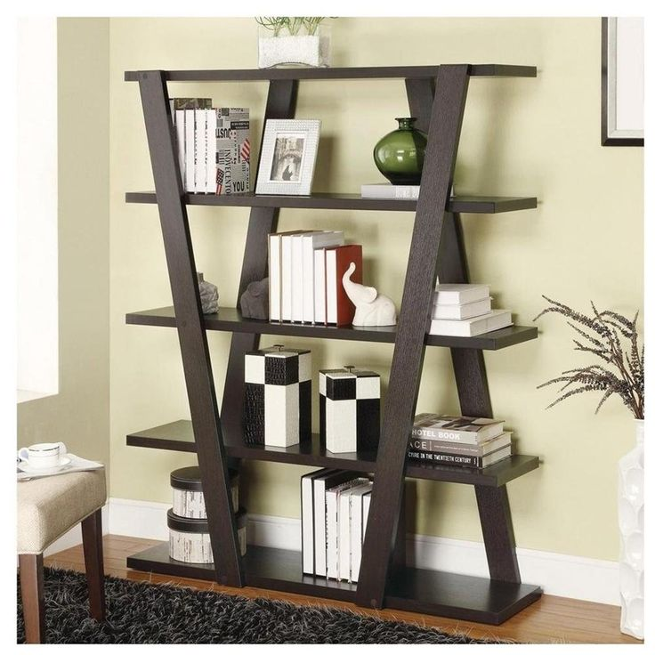 Cappuccino Modern Bookshelf with Inverted Supports u0026
