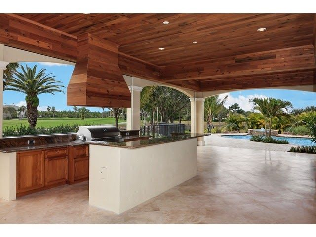Naples Hot Property Blog Lanai Outdoor Kitchen Cypress Ceiling Golf View Naples