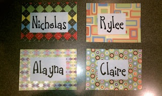 locker name tags on scrapbook paper