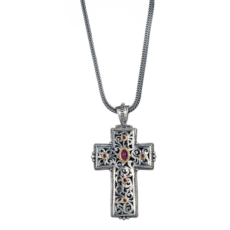Gerochristo Jewelry Byzantine cross engraved in traditional Greek design with solid yellow gold 18k, sterling silver, pink tourmaline and rubies.