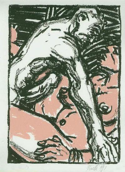 Gorilla-Gorilla -Cezes Strips. Joe Giusto Pinelli is een kunstenaar die speelt met de nuances van zwart en wit. Zijn erotisch getinte verhalen zijn zowel realistisch als karikatuur. Ze zijn een weerspiegeling van het tijdperk waarin ze zijn gepubliceerd, met een gevoel van echtheid, grofheid en intimiteit, en zijn soms schokkend.  Oplage 75. gesigneerd en genummerd. Prent genummerd en gesigneerd.