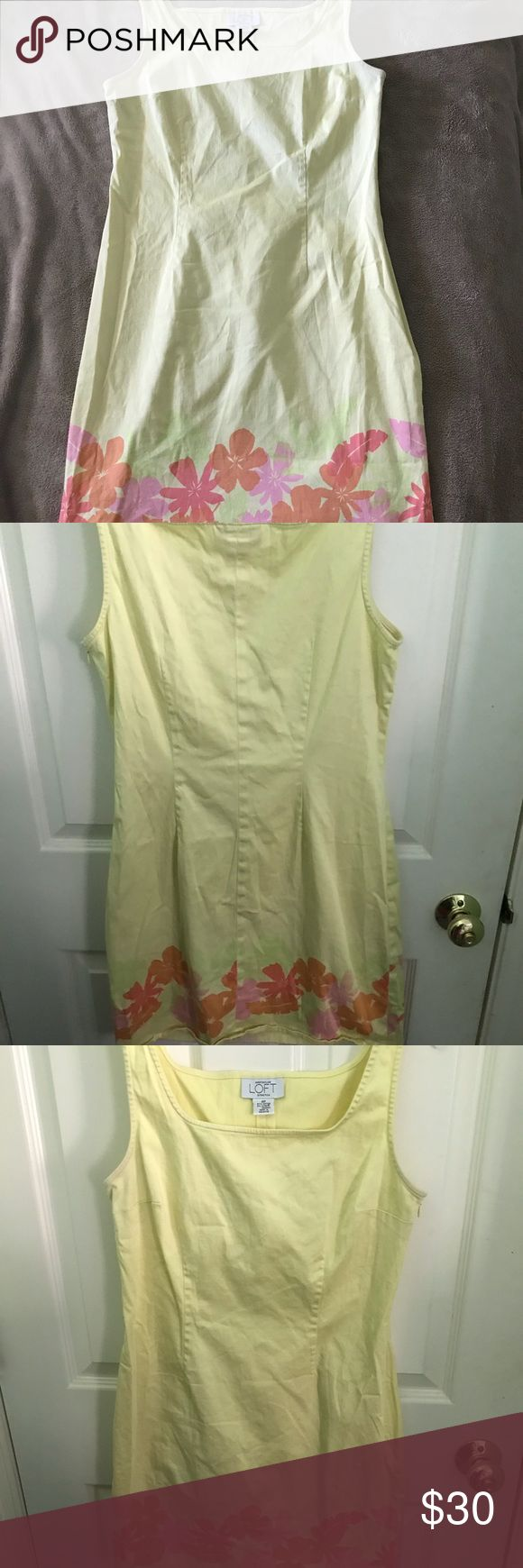Yellow dress with floral pattern Pale yellow dress with orange, pink, and green floral pattern at the bottom of the skirt. Size 8 petite. 97% cotton, 3% lycra spandex. Ann Taylor Dresses