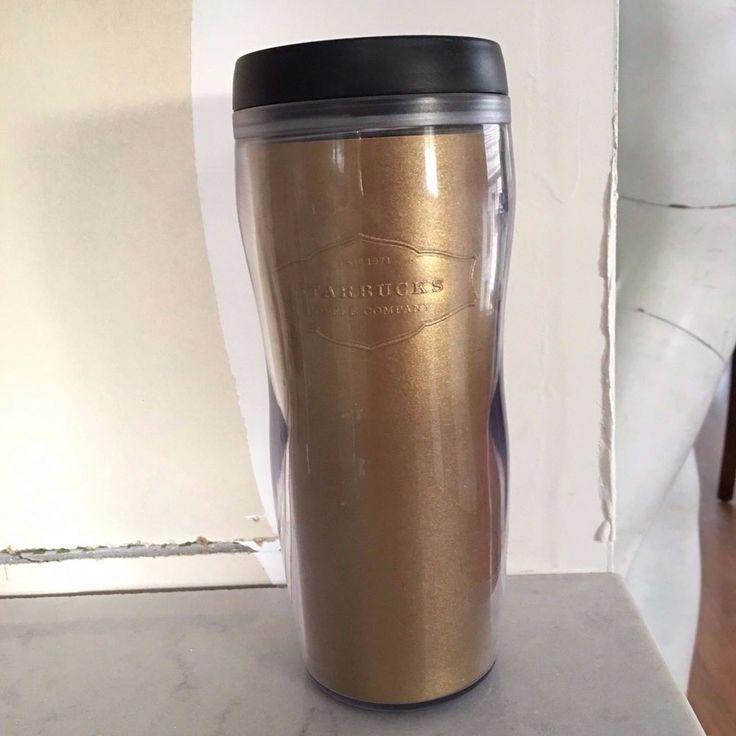 STARBUCKS  RARE Gold Flake Coffee Travel Tumbler 16 oz MUG CUP 2006 lid damaged #StarbucksCoffeeCo