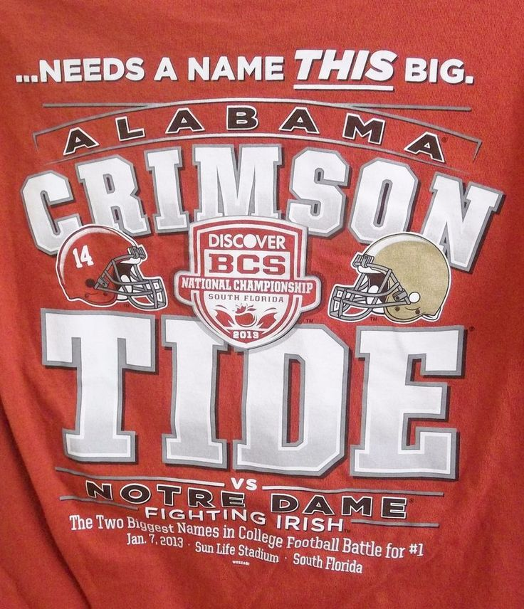 University Of Alabama vs. Notre Dame 2012 National Championship T-Shirt Medium