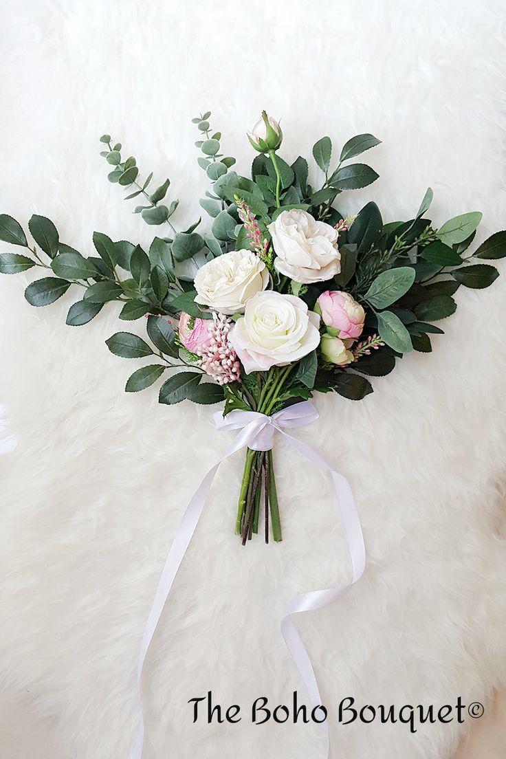 Boho bouquet, woodland bouquet, rustic bouquet, bridal bouquet, rose bouquet, greenery bouquet by TheBohoBouquet on Etsy