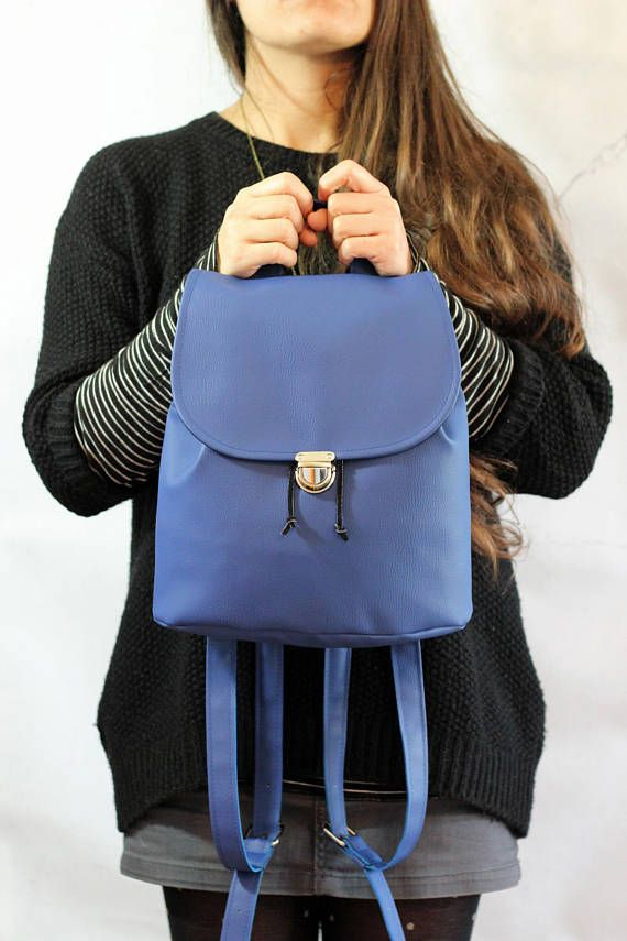 Zainetto blu Zaino vegan leather blu Zaino blu Zaino