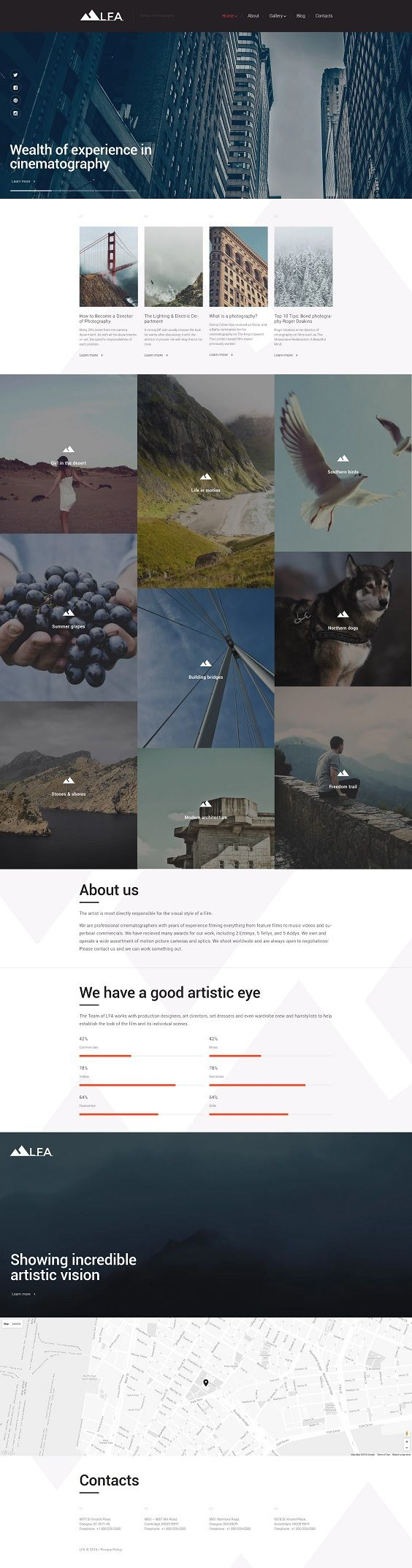 This responsive photo WordPress theme is a content-focused solution for your creative portfolio. It utilizes large, retina-ready imagery in a masonry gallery and page-wide slider. The latter is also supplied with social media icons on the left, which can motivate customers to subscribe to your social accounts. Most of the content is presented in the background of polygons, adding a touch of flair to the layout. Progress bars are used to show your stats in the percentage ratio, whereas Font…