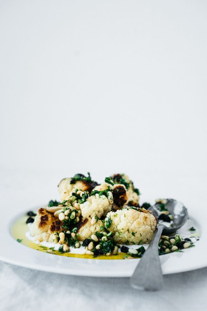 Roasted Cauliflower with Pine Nuts, Parsley and Currants   TENDING the TABLE