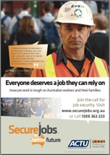 Download this great poster and stick it up in your workplace, at the sports club and at your community centre. Visit http://securejobs.org.au/resources/ for this poster & more great downloads.