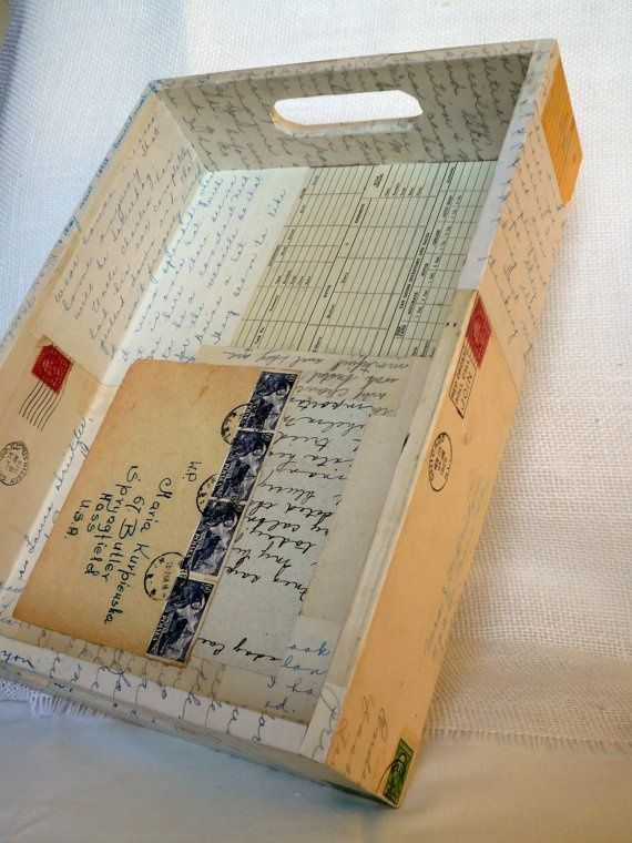 Decoupage a wooden tray with old letters, receipts and vintage ephemera