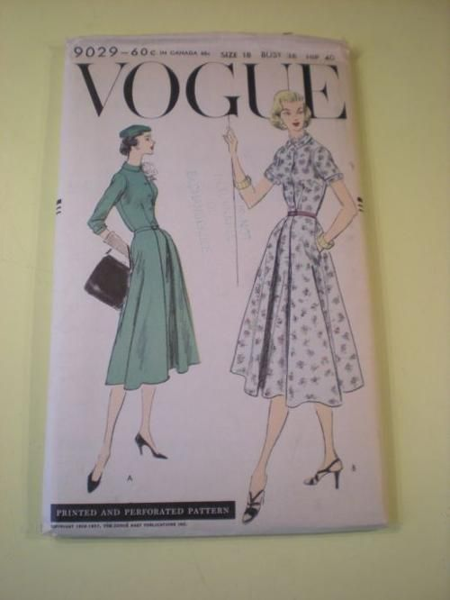 Vogue 9029; ©1956-1957; One Piece Dress. Five piece skirt with unpressed pleat [on] each side of separate underlay at centre front. Skirt jo...: One Piece