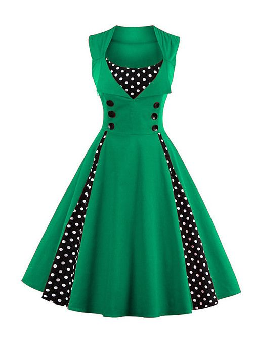168eac9d5c6fe Women s Plus Size Party   Holiday   Going out Vintage   1950s A Line Dress  - Polka Dot Red