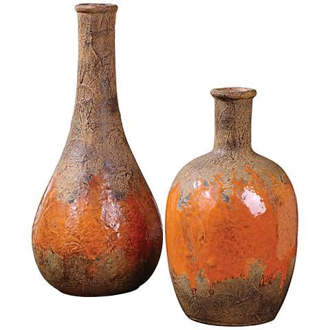 Create a rustic fall display with this vase set. Uttermost Kadam Rust 2-Piece Orange Ceramic Vase Set - #1M742 | Lamps Plus