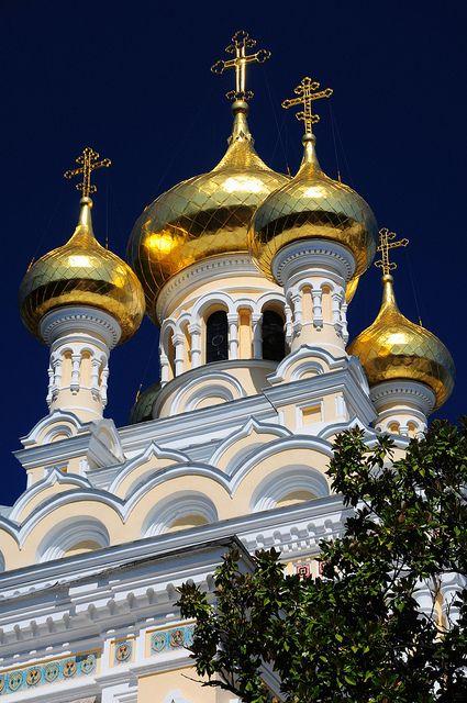 Golden domes of Alexander Nevsky Cathedral in Yalta, Ukraine