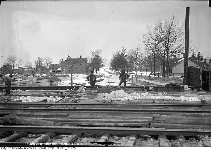 Runnymede Road subway under construction. Looking north towards St.Clair Avenue.  Large house at left sits where Lambton roundhouse was built. March 23, 1912  ****CITY OF TORONTO*****