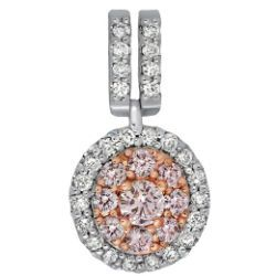 Blush Round Double Bail Pendant with White & Pink Diamonds