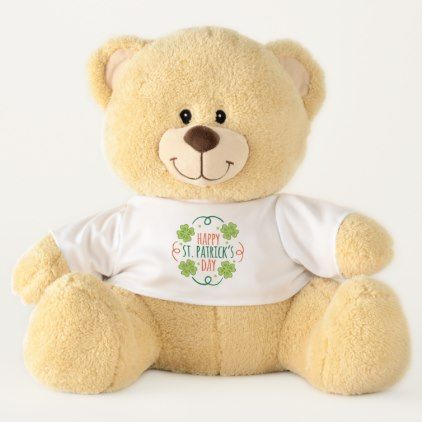 Green and Orange Happy Saint Pats Day Teddy Bear - #customizable create your own personalize diy