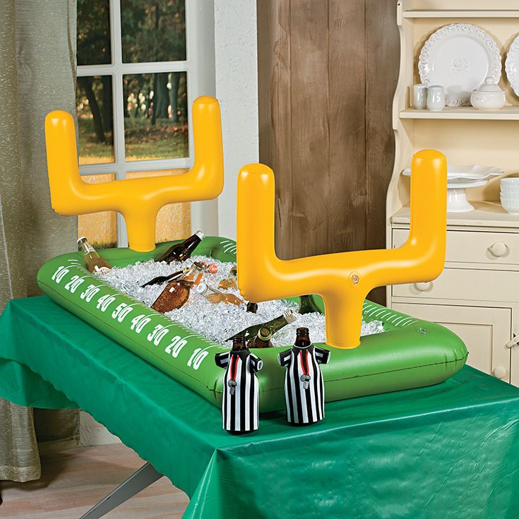 Inflatable Football Buffet Cooler | What a cool idea for your football party drinks! Just add ice and beverages for a game-worthy drink station. #footballparty